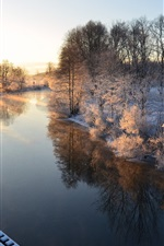 Preview iPhone wallpaper Morning scenery, Sweden, river, winter, snow