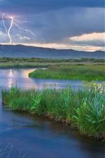 Preview iPhone wallpaper Mountains, lightning, river, grass, dusk, nature landscape