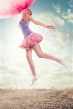 Preview iPhone wallpaper Oversized chewing gum bubble, girl flying, grass, creative pictures