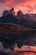 Preview iPhone wallpaper Patagonia, beautiful landscape, mountains, lake, red sky, clouds, sunset