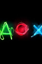 Preview iPhone wallpaper Playstation colorful logo, black background