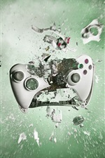Preview iPhone wallpaper Playstation gamepad smashing into pieces, creative pictures