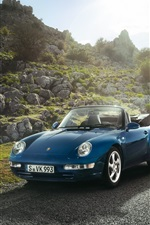 Porsche Carrera convertible car, blue color, sun