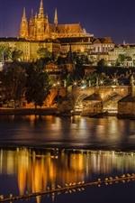 Preview iPhone wallpaper Prague, Czech Republic, Charles Bridge, Vltava river, night, lights