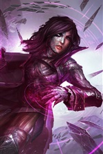 Purple dress fantasy girl, magic, stones