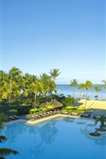Preview iPhone wallpaper Resort, sea, palm trees, swim pool, Mauritius