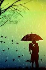 Preview iPhone wallpaper Romance, lovers, tree, leaves, rainy day, umbrella, creative design