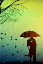 Romance, amantes, árvore, folhas, dia chuvoso, guarda-chuva, design criativo