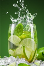 Preview iPhone wallpaper Summer drinks mojito, green lemon, ice, cup, water splash