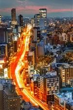 iPhone fondos de pantalla la ciudad de la puesta del sol, edificios, luces, carretera, Tokio, Japón