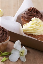 Preview iPhone wallpaper Sweet cream cakes, dessert, cupcakes, chocolate, flower