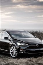 Preview iPhone wallpaper Tesla Model X black electric car