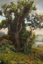 Trees, mountains, village, house, lake, grass