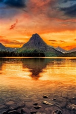 Two Medicine Lake, Glacier National Park, USA, mountains, clear water, sunset