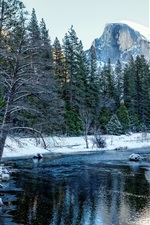 Yosemite National Park, California, USA, snow, forest, trees, mountains, river