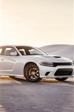 Preview iPhone wallpaper 2015 Dodge Charger SRT white car at sunset