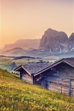 Alps, mountains, huts, dusk, grass