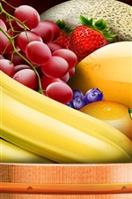Preview iPhone wallpaper Art drawing, bananas, grapes, cherries, strawberries