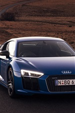 Audi R8 V10 blue car front view, lights