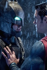 Preview iPhone wallpaper Batman v Superman 2016, heroes face to face