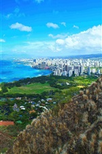 Preview iPhone wallpaper Beautiful Diamond Head, city, coast, Hawaii, USA