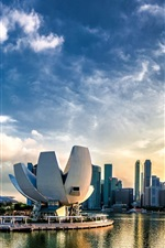 Preview iPhone wallpaper Beautiful Singapore, city, dock, skyscrapers, clouds, dawn, sunrise