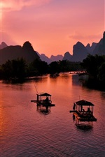 Preview iPhone wallpaper Beautiful Yangshuo landscape, Guilin, China, sunset, mountains, river, boats