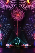 Preview iPhone wallpaper Beautiful city night, colorful, fireworks, lights, water reflection