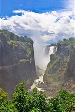 Preview iPhone wallpaper Beautiful landscape, Victoria Falls, Zimbabwe, cliffs, clouds, waterfalls