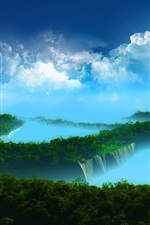 Preview iPhone wallpaper Beautiful landscape, paradise, islands, trees, clouds, blue sea