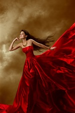 Preview iPhone wallpaper Beautiful red dress girl, jewelry, long hair, curls, art posture