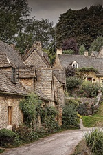 Preview iPhone wallpaper Beautiful town, trees, houses, Arlington Row, Bibury, England