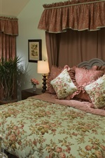 Preview iPhone wallpaper Bedroom, house, bed, quilt, interior design