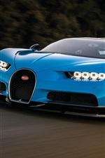 Blue Bugatti Chiron supercar speed