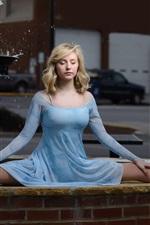 Preview iPhone wallpaper Blue dress girl, ballerina, blonde, fountain