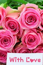 Preview iPhone wallpaper Bouquet pink rose flowers, with love