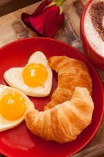 Preview iPhone wallpaper Breakfast, croissant, love heart eggs, rose, coffee, Valentine's Day