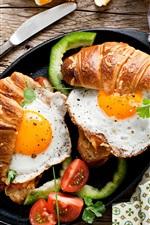 Breakfast, food, bread, fried eggs, tomato, coffee