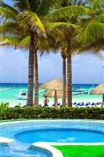 Preview iPhone wallpaper Caribbean, tropical, sea, coast, beach, palms, pool