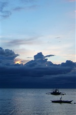Preview iPhone wallpaper Cebu, Moalboal, Philippines, sunset, dusk, clouds, sea, boats