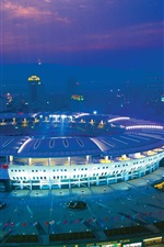 Preview iPhone wallpaper Changsha Helong Stadium, night, lights, China