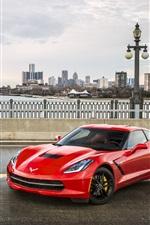 Preview iPhone wallpaper Chevrolet Silverado pickup, Corvette Stingray C7 red supercar