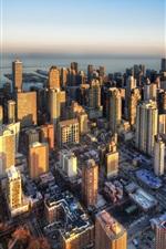 Chicago, arranha-céus, edifícios, cidade, crepúsculo, EUA