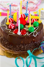 Preview iPhone wallpaper Chocolate cake, Happy Birthday, candles, colored ribbon