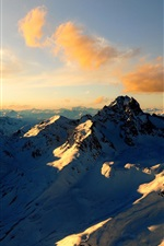 Preview iPhone wallpaper Clouds, snow, mountains, Alps, summer, sunset