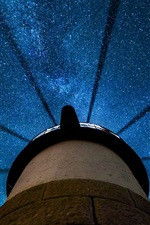 Preview iPhone wallpaper Clyde, Maine, USA, beautiful night, lighthouse, stars