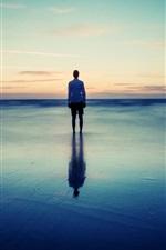 Preview iPhone wallpaper Coast, beach, sea, dusk, man