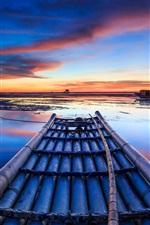 Costa, mar, barcos, casa, moinhos de vento, pôr do sol, céu vermelho