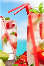 Preview iPhone wallpaper Cold drinks, cocktails, mojito, fruits, strawberry, lemon, coconut, summer