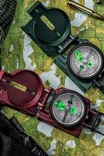 Compasses, map, bullets